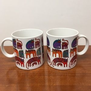 Pair of Vintage 1988 Laurel Burch Cat Mugs Feline